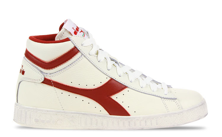 Diadora Game L High Waxed Wit/Rood Dames