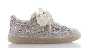 Puma Basket Heart Glitz Cr�me/Roze Peuters