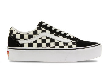 Vans UA Old Skool Platform Checkerboard Zwart/Wit Dames