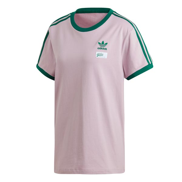 Image of Adidas 3 Stripes Tee Roze Dames