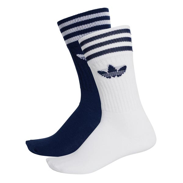 Image of Adidas Solid Crew 2pp Blauw/wit